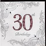 Edle Glückwunschkarte zum 30. Geburtstag von Koko Designs mit Prägung, Folie und Kristallen KK012