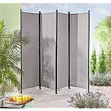paravent raumteiler trennwand grau 4 teilig flexibel verstellbar - Sichtschutz Balkon Paravent