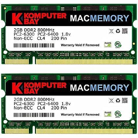 Komputerbay 4GB 2X2 800 SODIMM - Memoria RAM para iMac y MacBook (2x 2 GB, PC2-6300, 800MHz DDR2