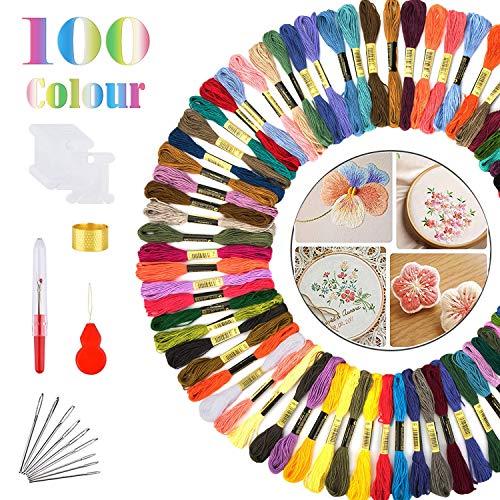 Stickgarn, 100 Farben Embroidery Floss Stickgarn Set, Weicher Polyester Stickerei Set Perfekt für Freundschaftsarmbänder Stickerei Basteln Crafts, 8m, 6-fädig und Zubehör