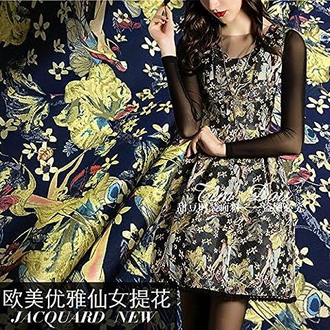 Nueva Europa y la gran tela de la impresión de la flor jacquard brocado hada del invierno de la falda de la capa de vestido / 100cm * 160cm