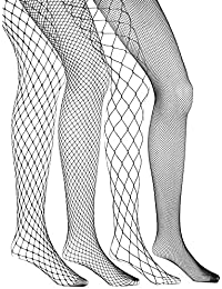eBoot 4 Paires Collants en Résille Bas de Résille Collants Nets pour Femme, Noir