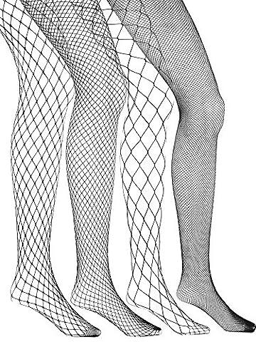 eBoot 4 Stück Fishnet Strümpfe Fischernetz Strumpfhosen Netzstrümpfe Grob Netz Strümpfe Nutzstrumpfhose für Damen,