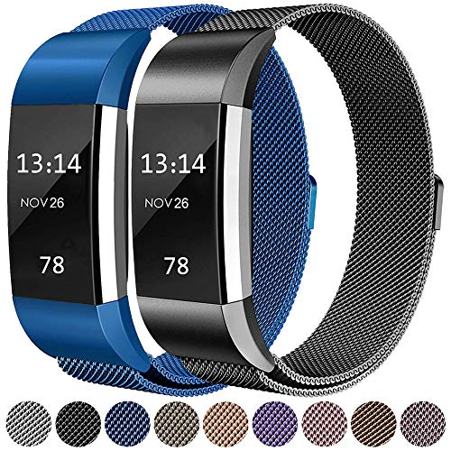 LINCCI Für Fitbit Charge2 Armband, Frauen Damen Herren Magnet Milanese Edelstahl Watch Band Strap Sport Bänder Metall Armbänder für Fitbit Charge 2 Original Uhrband Uhrenarmband Blau Schwarz