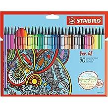 Premium-Filzstift - STABILO Pen 68-30er Pack - mit 30 verschiedenen Farben