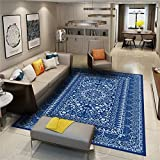 Zuonuoo Tappeto Orientale Classico,Moquette Sottile Orientale Blu, Vento di Corte Persiano tappeti,Adatto a Tutti i Tipi di luoghi della casa 80X160CM