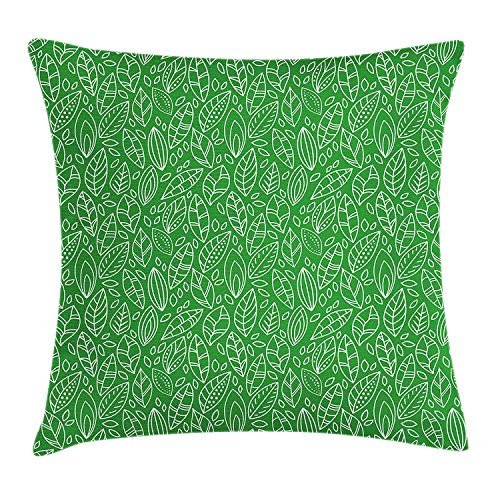 OQUYCZ Green Throw Pillow Cushion Cover, Doodle Style Leaves in Different Shapes Abstract Fresh Garden Botanical Foliage, Decorative Square Accent Pillow Case, 18 X 18 inches, Lime Green White Lime Green Music Box