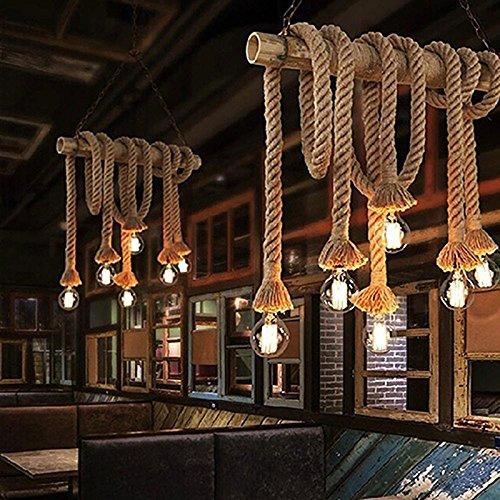1.5m Creative lámpara, Zantec Vintage grueso de cáñamo de cuerda de doble cabeza colgante de cáñamo de la lámpara de cuerda luces colgantes para el dormitorio Restaurante Cafe Bar Decoración