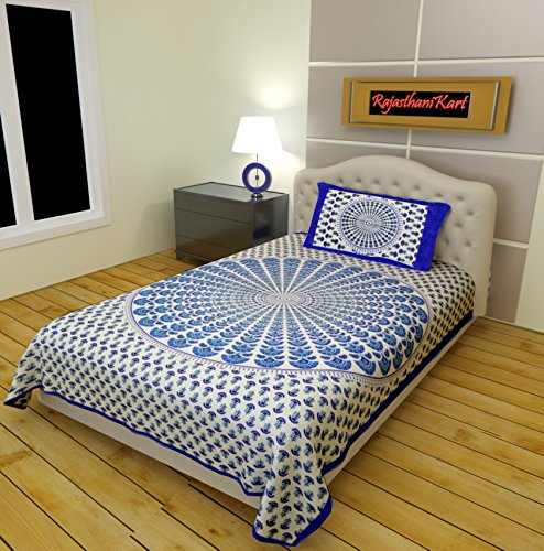 RajasthaniKart Classic 2 Piece 144 TC Cotton Single Bedsheet with Pillow Cover - Abstract, Blue