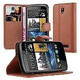 Cadorabo Hülle für HTC Desire 500 Hülle in Schoko braun Handyhülle mit Kartenfach und Standfunktion Case Cover Schutzhülle Etui Tasche Book Klapp Style Schoko-Braun