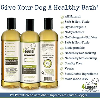 4-Legger® Certified Organic Dog Shampoo - All Natural, Hypoallergenic with Aloe - Lemongrass, Biodegradable, Non-Toxic… 2