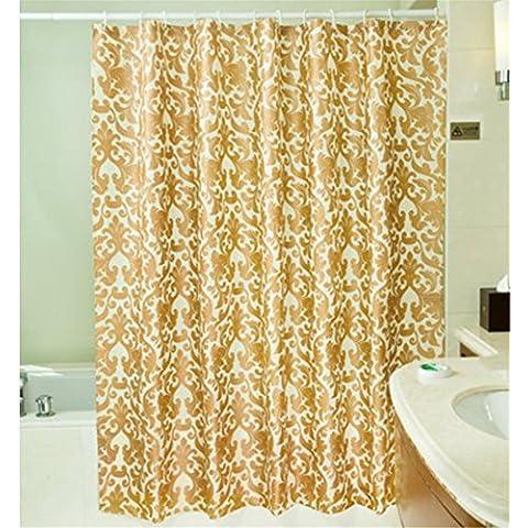 GYMNLJY La tenda della doccia oro poliestere stampa muffa impermeabile spessa Bagno Bagno Doccia cortina di tagliare Hanging tenda ,