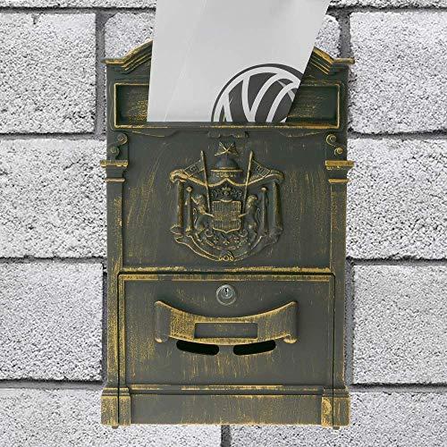 PrimeMatik – Briefkasten Postkasten Retro Antik Vintage metallische Schwarze Oxid für wallmount - 3