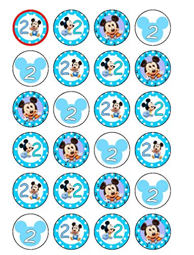 24 x 2 nd Birthday bébé Mickey Mouse comestible Cupcake Caketoppers (Belle Geburtstagskuchen)