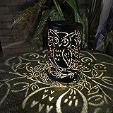 FAVOLOOK Solarleuchten Outdoor Laterne LED Sicherheit Lampe groß Retro Rund warm weiß Kunststoff & Metall für Garden Path Ornaments (groß Größe Retro Rund Solarleuchte), Schwarz/Eulen, Free Size