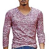 UJUNAOR Männer Solide V-Ausschnitt Lange Ärmel T-Shirt Top Schlanke Bluse(EU XL/CN 2XL,rot)