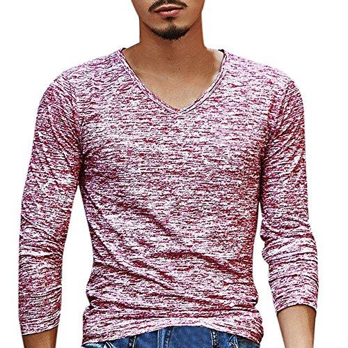 VECDY Herren Bluse,Räumungsverkauf- Herren Mens Solid V Ausschnitt Langarm T-Shirt Top Slim Bluse Hübsche Reisejacke Cool und cool top(Rot,46)