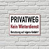Schild Privatweg kein Winterdienst, 20x30cm, Aluverbund, wetterfest