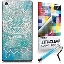 CASEiLIKE Arte indio de la línea 2066 Bumper Prima Híbrido Duro Protección Case Cover Funda Cascara for Huawei Ascend P7 +Protector de Pantalla +Plumas Stylus retráctil (Color al azar)
