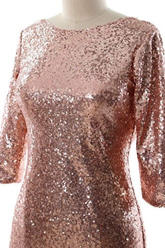 MACloth Women Half Sleeve Sequin Cocktail Dress Cowl Back Bridesmaid Formal Gown Minze