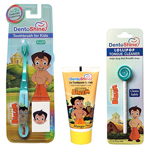 DentoShine Oral Care Combo (Chhota Bheem Toothbrush + Lollipop Tongue Cleaner + Flavored Toothpaste 80 g) (Mango)