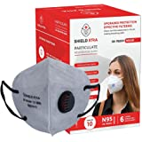 SHIELD XTRA™ SX-7820V N95 | FFP2 Anti-Pollution EAR LOOP With EXHALATION VALVE FITER Face Mask with 6 Layered Filtration (Pack of 10)