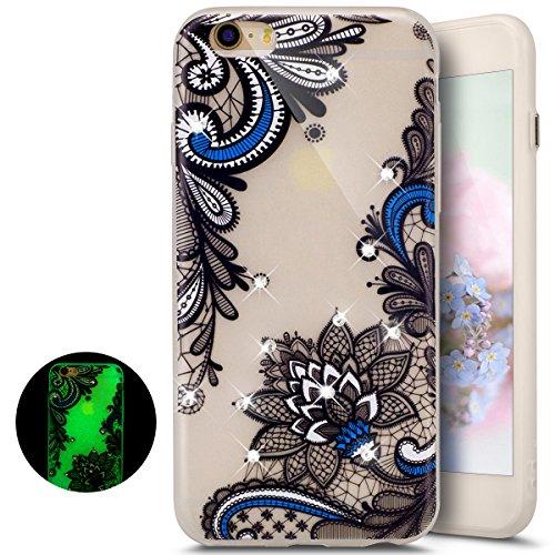 Paillette Coque Housse Etui pour iPhone 6 Plus/6S Plus,iPhone 6S Plus Coque en Silicone Clear Etui Housse avec Bling Glitter Diamant Strass Transparent Gel Slim Case Soft Gel Cover Skin, Ukayfe Etui d motif bleu