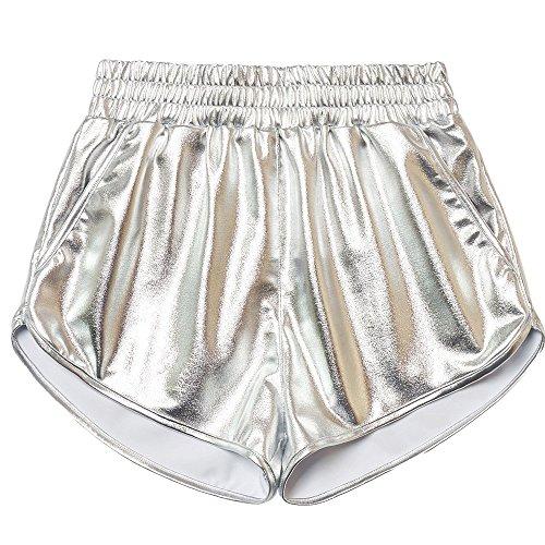 KUDICO Damen Shorts Sommer Shiny Pailletten Hotpants Metallic Locker Hohe Taille Yoga Sporthose Einfarbige Tasche Leder Shorts Hose Sommerhosen Pants Kurz Hosen Leggings(Silber, Large) -