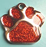 27mm Pet Dog ID Tag Red Glitter Paw Shape - FREE ENGRAVING + P&P