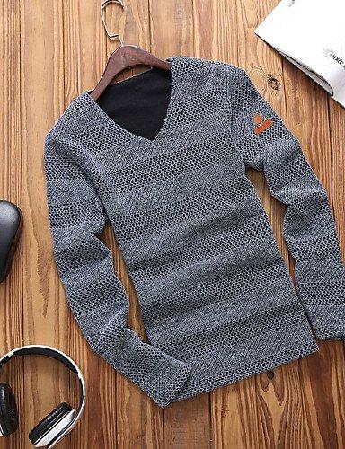 XX&GX T-shirt Uomo Casual / Da ufficio / Formale / Attività sportive / Taglie forti Tinta unita Manica lunga Cotone / Poliestere gray