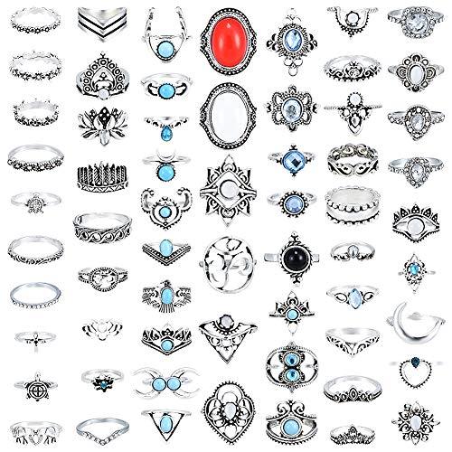 Vathery 62 pezzi vintage bohemien anelli di donna, anelli knuckle di modo set, argento anelli accatastabili per accessori gioielli