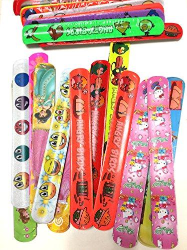 Monicaxin 48 Mega Confezione di Braccialetti-Slap Assortiti, a forma di faccia sorridente, simpatica Capretta, Biancaneve, Angry Birds (48 Assorted Slap Bracelets- Mega Pack/IT)