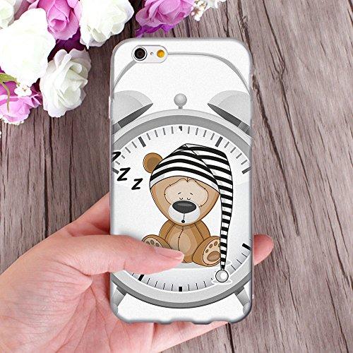 OOH!COLOR Handyhülle für IPHONE 5 und 5S, SE mit Holz MTE014 Motiv Silikon Case Flexibele Tasche Design Schutzhülle Elastisch Etui Cover OKI001 Teddybär