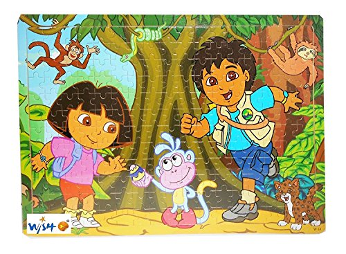 Jenil International 204 Pcs Wooden Multi Cartoon Characters Wooden Frame For Kids (Dora Jungle Friends)