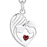 YL Mutter und Tochter Kette 925 Sterling Silber Herz 12 Geburtsstein Zirkonia Anhänger Halskette Geschenke für Mutter…