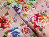 Minerva Crafts Floral Digital Print Lurex Gewebt Brokat