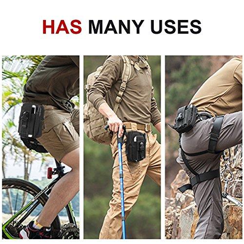 Borsa tattico 1000D nylon marsupio escursioni, impermeabile militare tattico marsupio Phone Pouch Utility gadget cintura marsupio per sport all' aperto, escursionismo, campeggio, mimetico, Black Black
