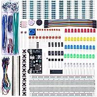 Elegoo Kit Entusiasta Mejorado de Componentes Electrónicos con Módulo de Alimentación, Placa de Prototipos (Protoboard) de 830 Pines, Cables Puente, Potenciómetro de Precisión, para Arduino, STM32, Raspberry Pi, Hoja de Especificaciones Disponible para Descarga Compatible con Arduino UNO MEGA 2560 NANO