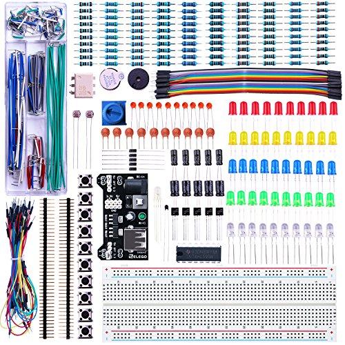 ELEGOO Kit Mejorado de Componentes Electrónicos con Módulo de Alimentación, Placa de Prototipos (Protoboard) de 830 Pines, Cables Puente, Potenciómetro, para Arduino, STM32, Raspberry Pi