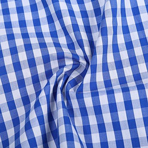 KoJooin Trachten Herren Hemd Trachtenhemd Langarmhemd Freizeithemd Baumwolle - für Oktoberfest, Business, Freizeit (2XL, Blau1) - 6