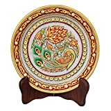 #6: HANDICRAFTS PARADISE PEACOCK WITH FLOWERS PAINTED ON MARBLE PLATE HPMR15170
