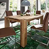 Pharao24 Tisch aus Balkeneiche ausziehbar Breite 200 cm Ohne Verlängerbar um je Ohne Ansteckplatten