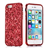 iPhone 6S Hülle Glitzer, Huphant [2 in 1] iPhone 6 Handyhülle Sparkle Phone Case Stoßfest Ultra Slim Anti-Scratch Hard PC Case Stoßfänger Rückseitige Abdeckung for iPhone 6 / 6S - Rot