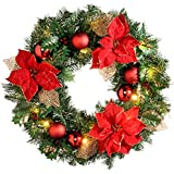 WeRChristmas 60 cm Decorated Pre-Lit Wreath Christmas Decoration Illuminated with 20 Warm White LED Lights, Red/ Gold