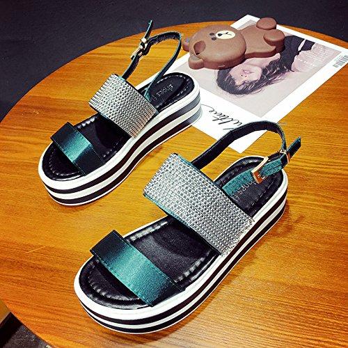 RUGAI-UE Estate sandali donne le suole spesse Incantesimo del Vento colore scarpe da punta Green