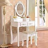 UEnjoy Coiffeuse Table de Maquillage Blanche avec Tabouret,4 Tiroirs et Miroir Ovale Maison de Campagne