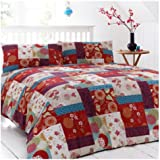 Just Contempo Oriental Patchwork Duvet Cover, King, Red