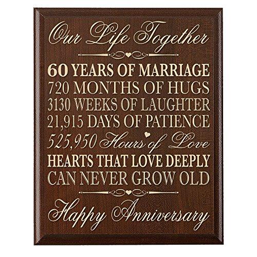 Wandschild zum 60. Hochzeitstag Geschenke für 60. Hochzeitstag Paar, 60. Jahrestag Geschenke für SIE, Geschenke für ihn 30,5cm W x 38,1cm H Wandschild von Dayspring Meilensteine (Geschenke Dayspring)