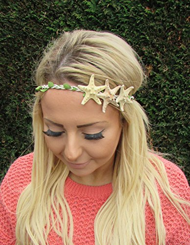 nd Kopfbedeckung Meerjungfrau Stirnband Krone creme Leaf Boho Ariel 1988Stil der Zwanzigerjahre (Meerjungfrau Stirnband)