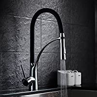 Single Handle Kitchen Sink Faucet Pull Out Giù spruzzatore Deck Monte miscelatore del rubinetto della cucina girevole nave Rubinetti finitura cromata